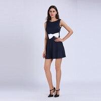 Young17 Letnia Sukienka Kobiety Pomarańczowy Niebieski 2018 Kostiumy Kąpielowe Zipper Bowknot Randki Mini Sukienka Bez Rękawów Casual Dress