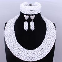 Lilac Blue Gold Nigerian Wedding African Beads Jewelry Set Crystal Beads Women African Costume Three Layers Jewelry Set