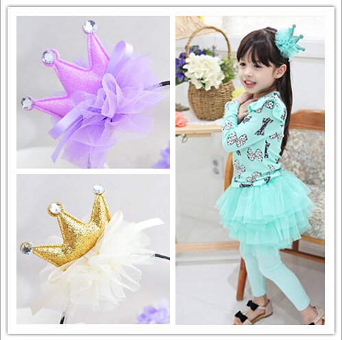 New Arrival Hair Accessories For Girl Crystal Lace Flower Golden Power Fabrics Crown Hairband Colors Headwear Hair Clips For Kid in Hair Accessories from Mother Kids