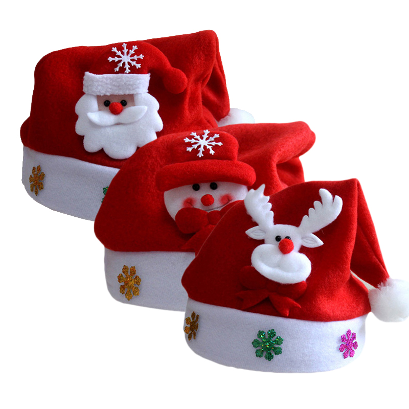 2018 Christmas Hat Adult Child Cute Velvet Santa Claus Caps Xmas Holiday Party Decoratives Supplies Red Holiday Hats