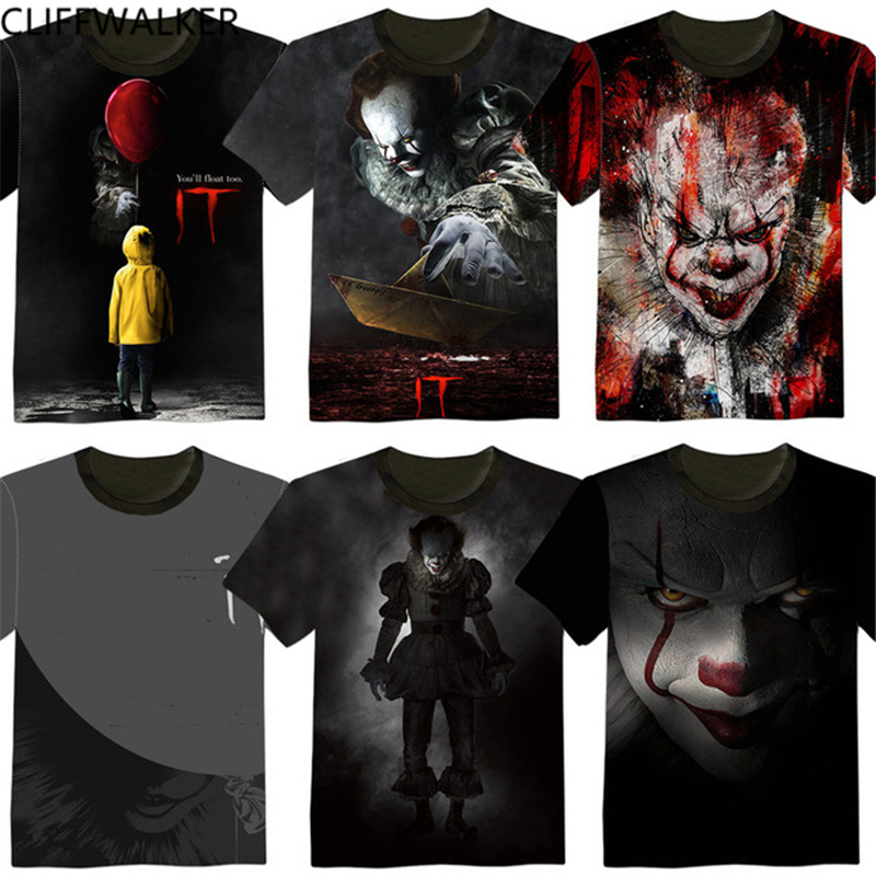 New movie IT Pennywise T Shirt Clown Stephen King 1990 Horror Movie IT T-Shirt COSPLAY Tee