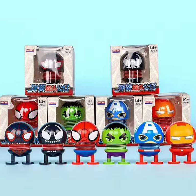 Marvel Action Figures Avengers Endgame Super Heroes Iron Man Spiderman Hulk Captain America Shaking Spring Head Doll Figure Toys