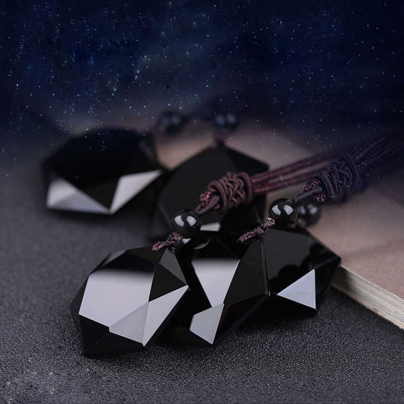 Colar hexagográfico preto de estrela de rongde, pingente de lucky amor pedra natural, mulheres, homens, casal, joia do judaismo