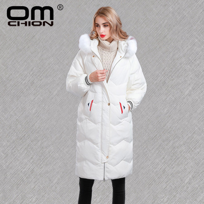 OMCHION Casacas Para Mujer 2018 New Colorful Fox Real Fur Loose Duck   Down     Coat   Thicken Warm Winter Jacket Snow White Parka QY11