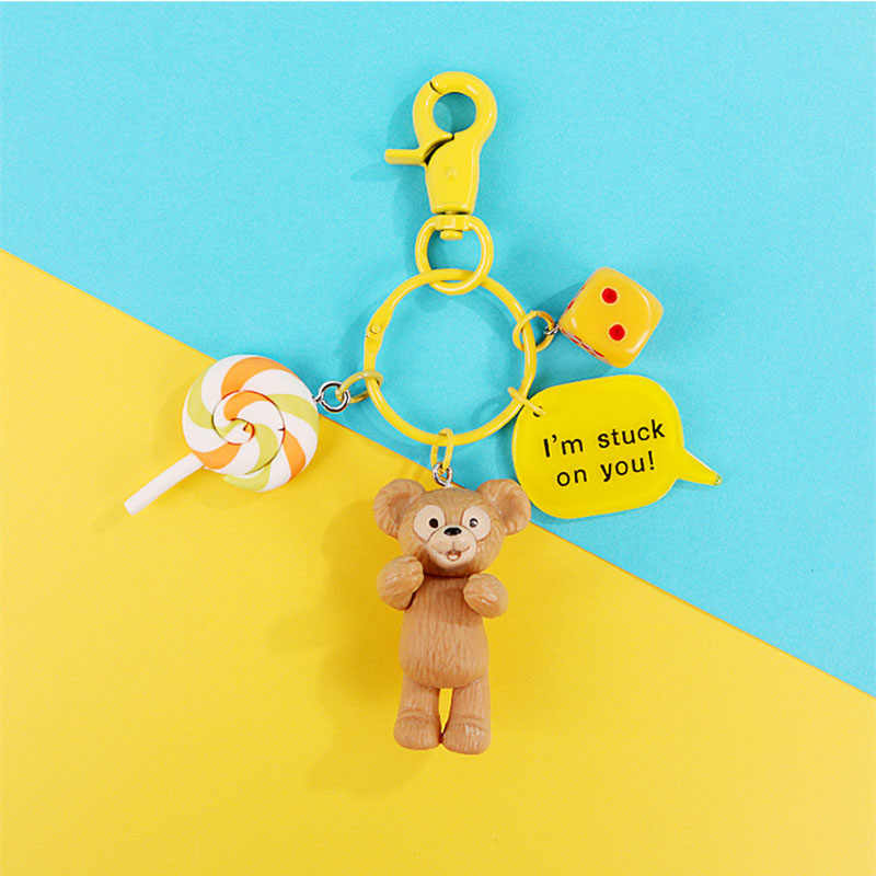 Cartoon Bear Rabbit Keychain Cute Bag Car Pendant Keyring Holder Chimmy Handbag Charm Toy for Women Girls Key Chain Gifts