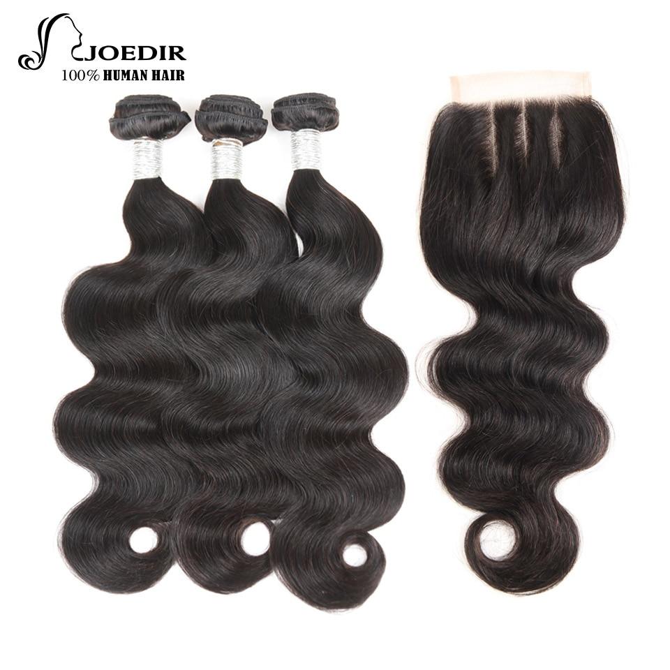 Joedir Buy 3 csomagok Get 1 Closure Ingyenes Csomagok lezárása - Emberi haj (fekete)