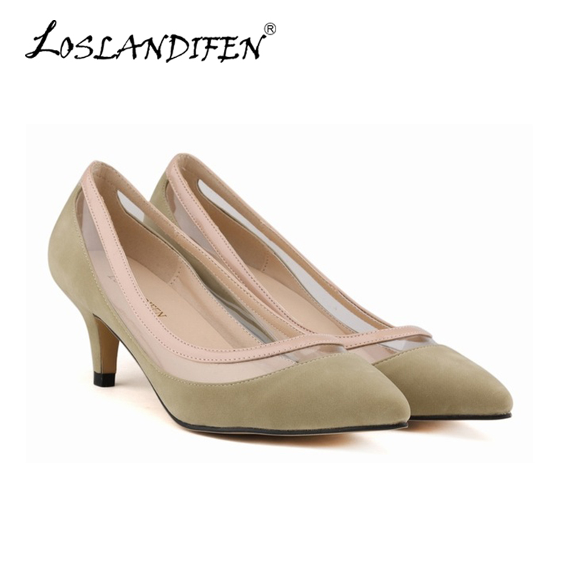 LOSLANDIFEN New Fashion Shoe Women Pointed Toe Red Bottom Low Heel Pump Lady Single Ol Work Career Spring Fall Shoes 678-2VE