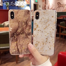 Luxury Gold Foil Bling Marble Phone Case For 7 8 Plus XR XS MAX Fashion Glitter Soft TPU Cases iPhone X Xs 6 6s Cover Coque