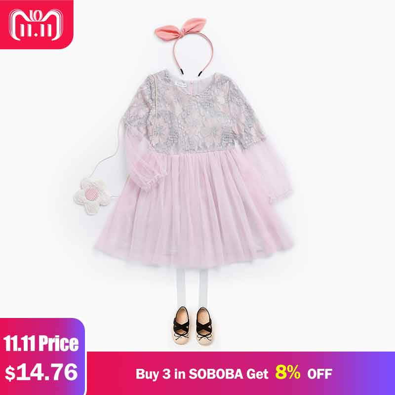 Children Princess Dress Lace Mesh Floral Pattern Dresses for Girl Lantern Sleeve Cute Ball Gown Vestidos Knee-length Girls Dress floral print bodycon knee length dress