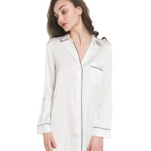 ca3f86aa1de9 New White Camicia Da Notte Femminile Sexy Del Manicotto Pieno Raso  Indumenti Da Notte Delle Signore