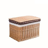 Wicker Storage Box Home Daily Fabric Snack Storage Basket Lace Dots Cloth Lining Clothing Toys Snack Organizer Home Supplies 20E