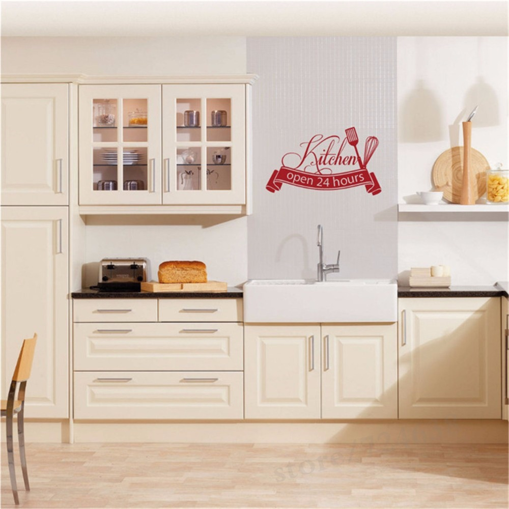 Hot Sale Cuisine Wall Sticker Open 24 Hours Kitchen Cut Vinyl Decal ...