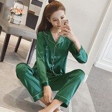 Silk sleepwear sexy pyjama womens pajamas set Long Sleeve Polyester Lounge Set