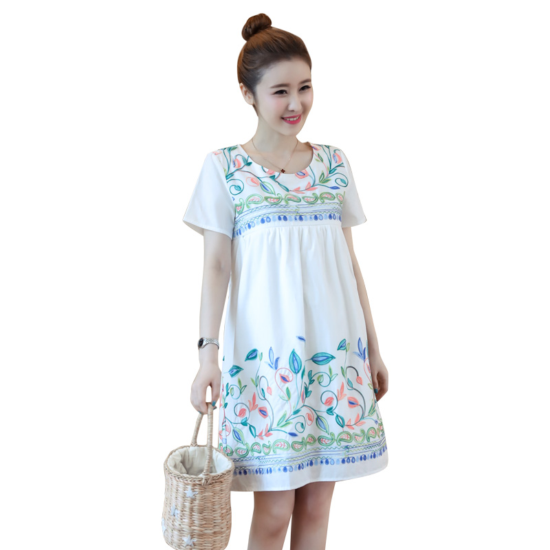 Floral Embroidery Maternity Clothes 2018 Preppy Style Pregnancy Dress Fashion Chiffon Maternity Clothing Of Pregnant Women