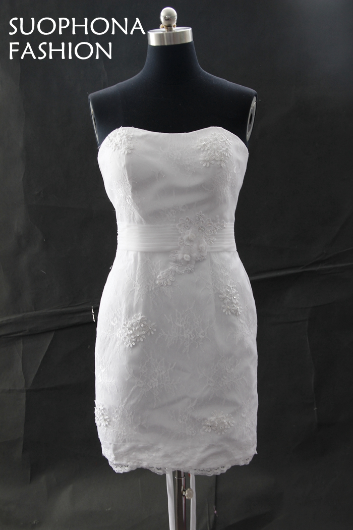 Casamento Personalizada Marfil Vaina Corta vestido de Novia 2017 de ...