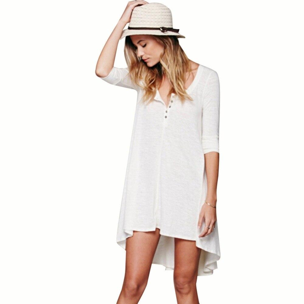 ΞNueva caliente Europea moda mujeres media manga formal algodón que ...