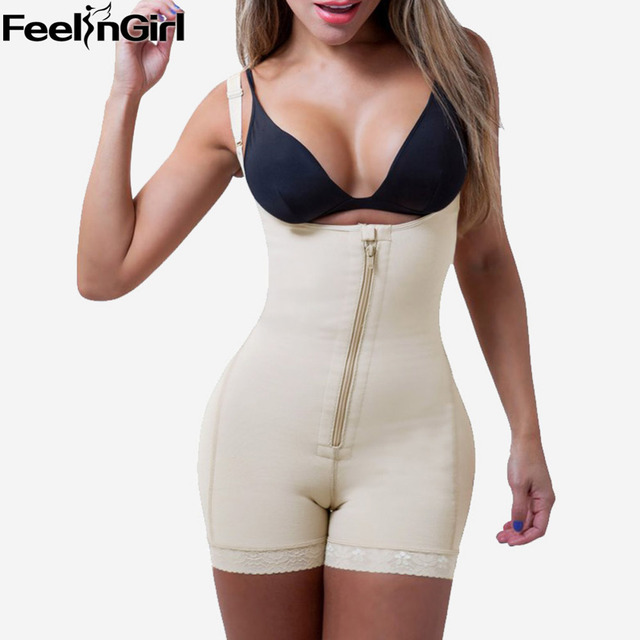 FeelinGirl Latex Fajas Reductoras Body Shaper Zip and Clip Strap Bodysuit Waist Shaper Butt Lifter With Tummy Control -E