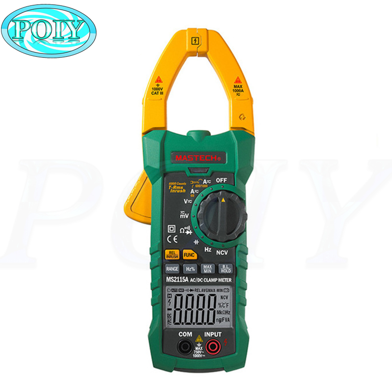 Mastech MS2115A 6000 Counts True RMS Digital Clamp Meter AC/DC Voltage Current Tester with INRUSH and NCV Measurement-in Multimeters from Tools    1
