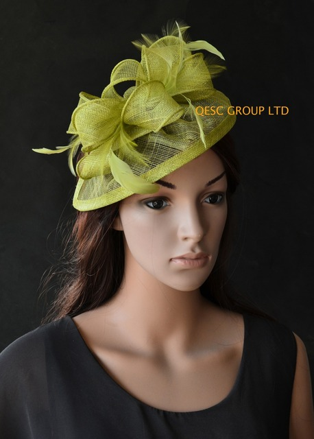 NEW Olive green Lime green Sinamay Fascinator hat kentucky derby hat ... 29f9b875340