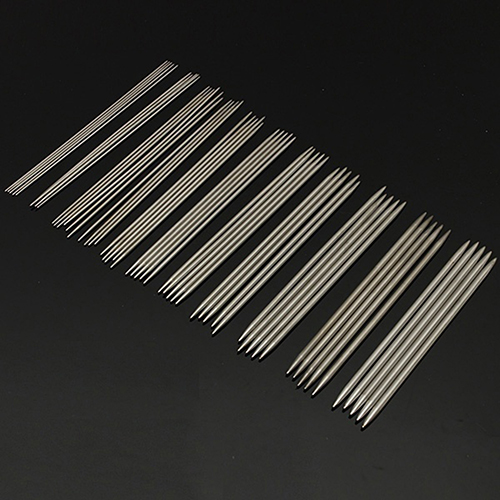 55Pcs 2mm-6.5mm Stainless Steel Double Pointed End Crochet Weave Knit Needles