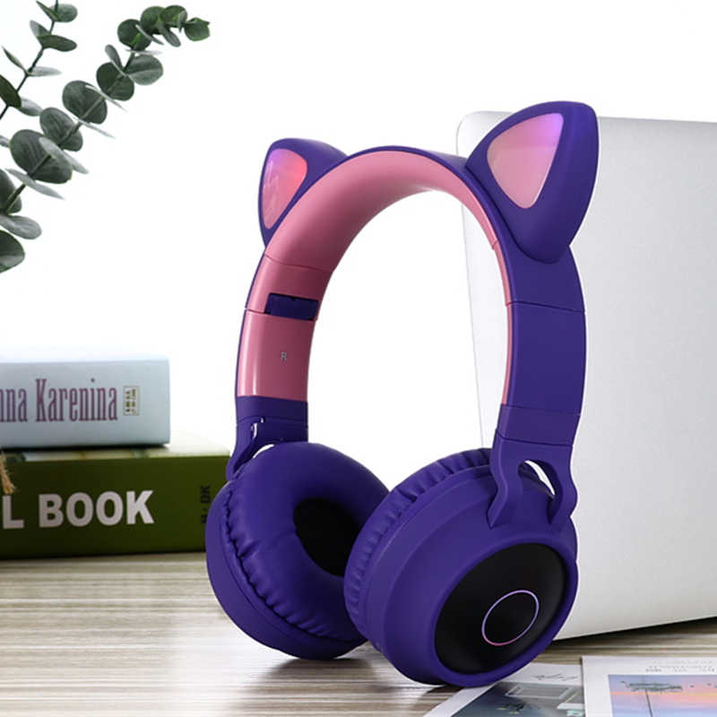 جديد وصول LED القط الأذن إلغاء الضوضاء سماعات بلوتوث 5.0 الشباب الاطفال سماعة دعم TF بطاقة 3.5 مللي متر التوصيل مع هيئة التصنيع العسكري