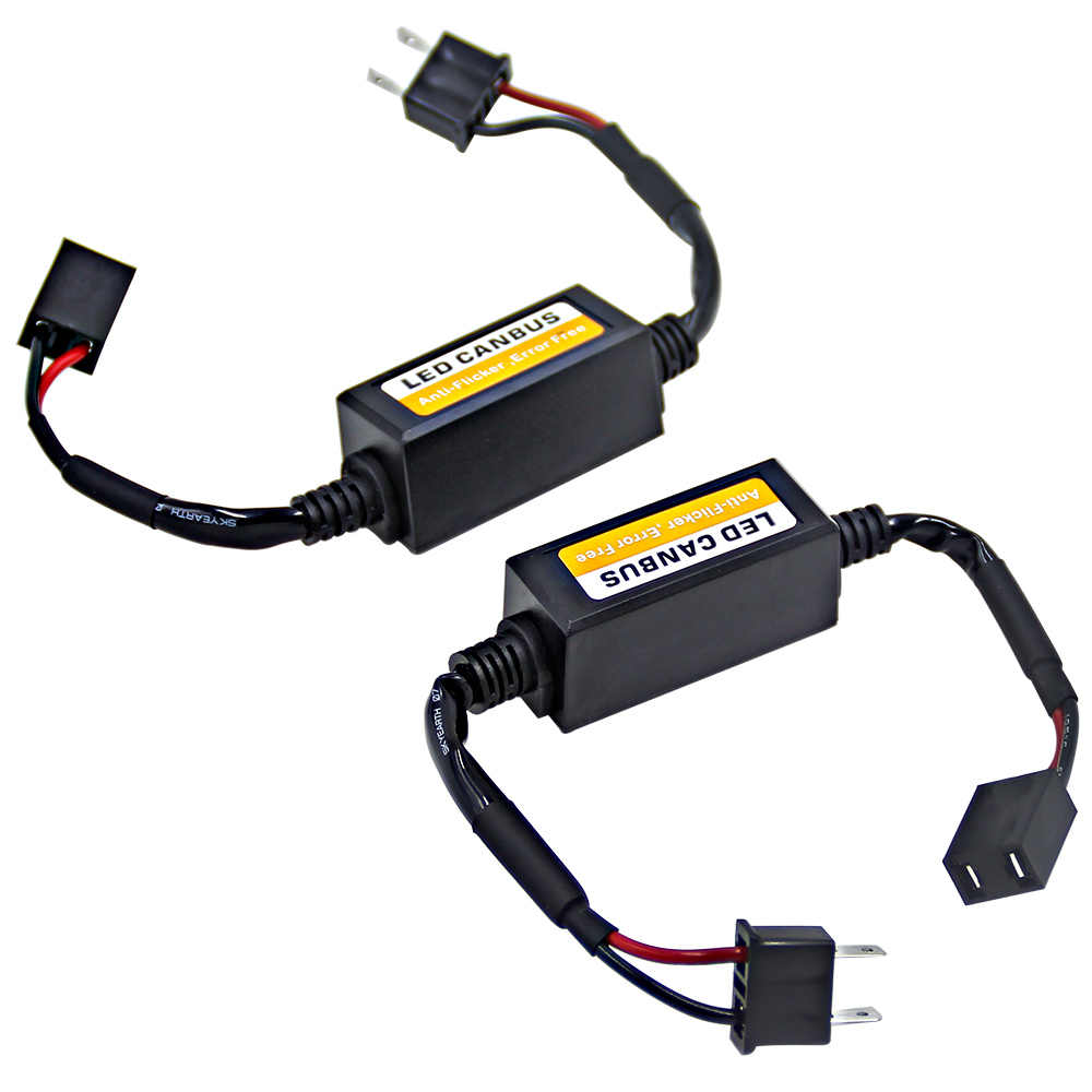 2Pcs Canbus Cable Led Warning Canceller Decoder For Car Light Bulbs H4 H7 H11 9005 HB3 9006 HB4 No Error Canbus Load Resistor