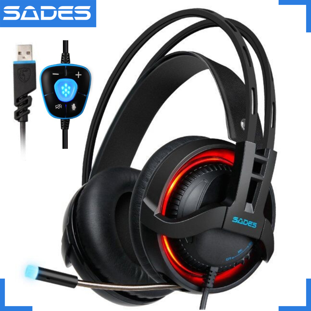 SADES R2 Gaming Headset Stereo Sound Computer Headphones USB Breathing LED Lights with Mic for PC