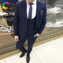 Custom Made Navy Blue Men Suits for Wedding Slim Fit Groom Tuxedos Business Men Blazers 3 Piece Jacket Pants Vest Costume Ternos blue wedding groom tuxedos for man ceremony prom suit 3 piece smoking business party men suits custom made jacket vest pant