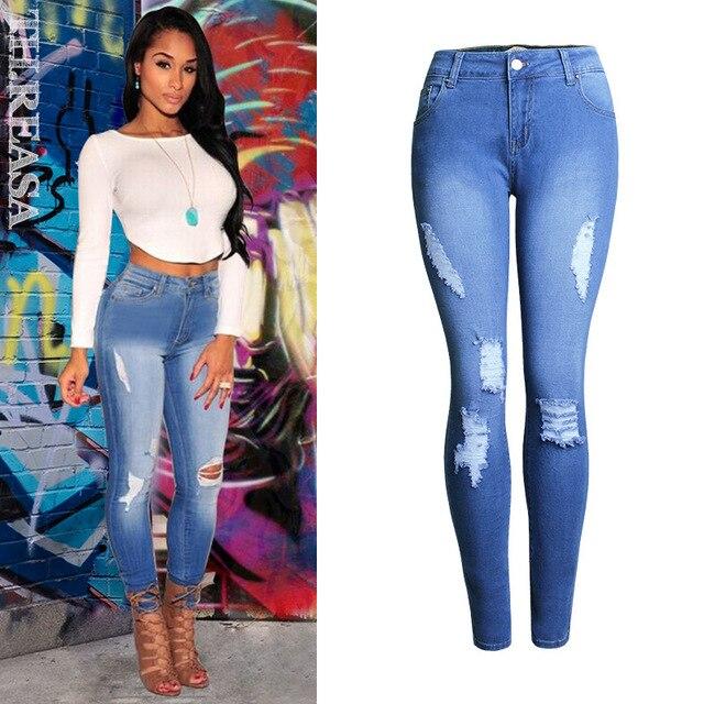 55dccbd18e2 Desi Sexy Plus Size Ripped Fading High Waist Jeans Femme Women`s True Denim  Skinny Distressed Jeans For Women Jean Pencil Pants