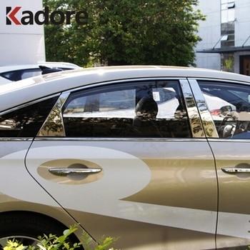 For Hyundai Sonata 2015 2016 Stainless Steel Car Window Center Pillar Trim Decorative Moldings Auto Exterior Accessories