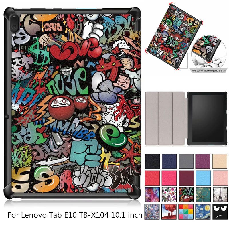 Slim Flip Magnetic Shell Skin Cover Coque Stand PU Leather Funda Capa Case For Lenovo Tab E10 E 10 X104 TB-X104 10.1 Inch Tablet