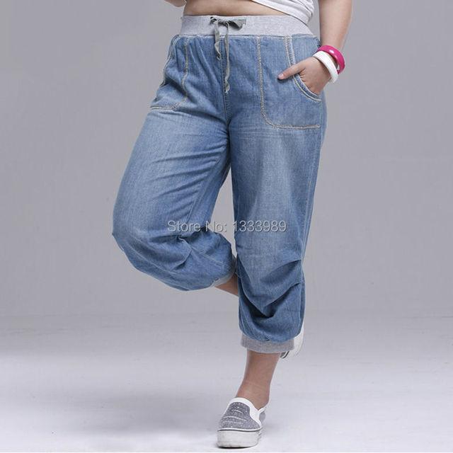 2016 verão mulheres harem pants calças jeans plus size calças soltas para as mulheres denim calças Capris jeans para mulher 6XL