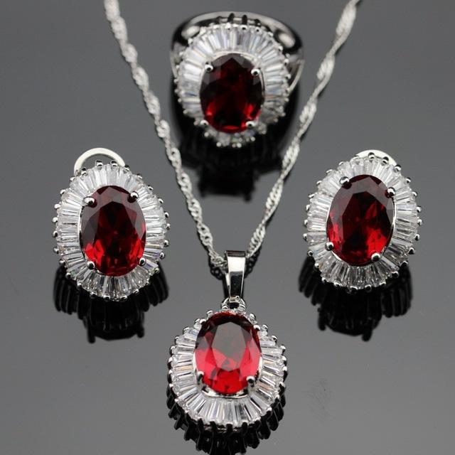 Made in China Red Imitado Garnet Branco CZ Conjuntos de Jóias de Cor Prata Brincos/Pingente/Colar/Anéis Para mulheres Caixa de Presente Livre