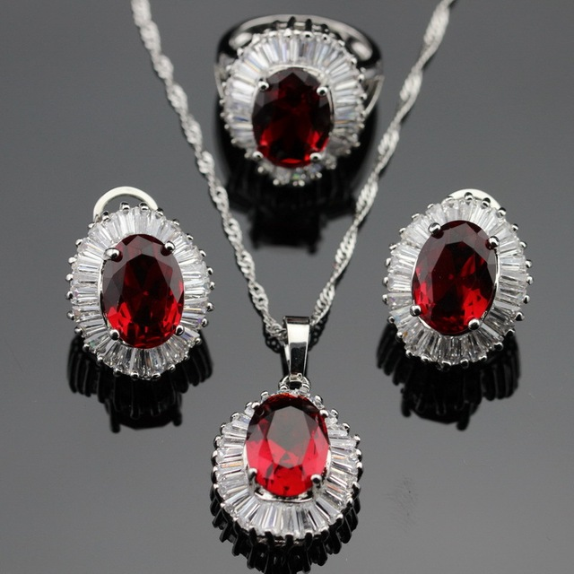 Made in China Red Imitated Garnet White CZ Jewelry Sets Silver Color Earrings/Pendant/Necklace/Rings For Women Free Gift Box