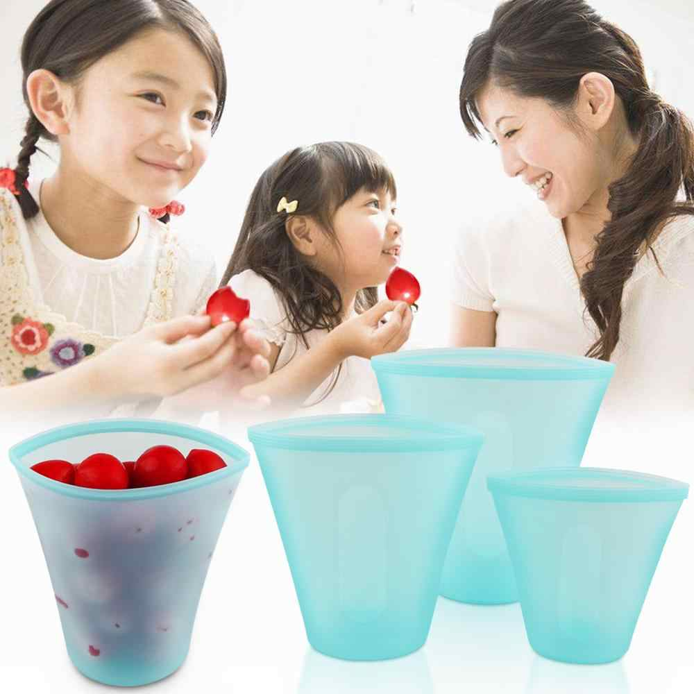3Pcs Silicone Food Storage Containers Zip Top Leakproof Fresh Bowl Reusable Stand Up Zips Shut Bag Fruit Vegetable Sealed Cup B4