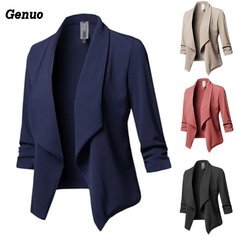 Genuo Women Blazer Solid Color Suit Long Sleeved Lapel Casual Small Suit Slim Ladies Blazers Work Wear Coat Plus Size Top