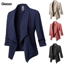 Genuo Women Blazer Solid Color Suit Long Sleeved Lapel Casual Small Suit Slim Ladies Blazers Work Wear Coat Plus Size Top blaser femenino 2017 new women slim blazer coat casual jacket one button suit ladies blazers large size work wear