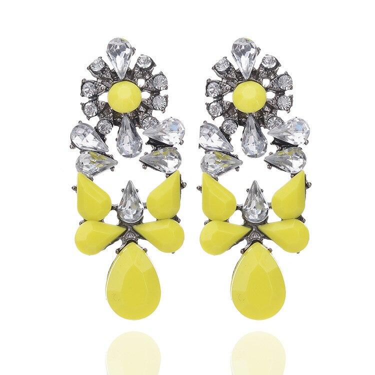 2017 Colorful Ethnic Bohemian Chandelier Hanging Drops Long Crystal Earrings for Women Dangle Earring Jewelry 4 Colors