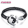 MOZO FASHION Men Jewelry Double Layer Black Leather Rope Chain Bracelets Stainless Steel Anchor Skull Vintage Bracelet MPH980