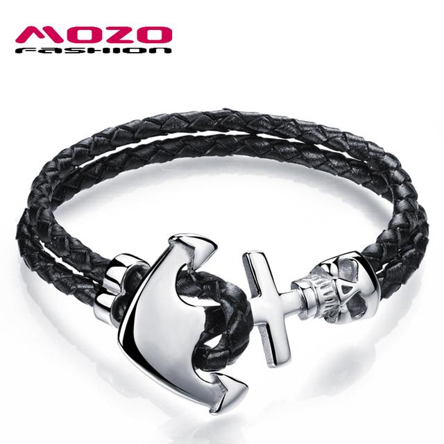 Mens Black Leather Rope Stainless Steel Anchor Skull Bracelet