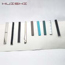 HUISHI Colorful Simple Metal Silver Gold Necktie Clip Green Blue Brown Long And Short Gentleman Tie Bar For Mens Gifts
