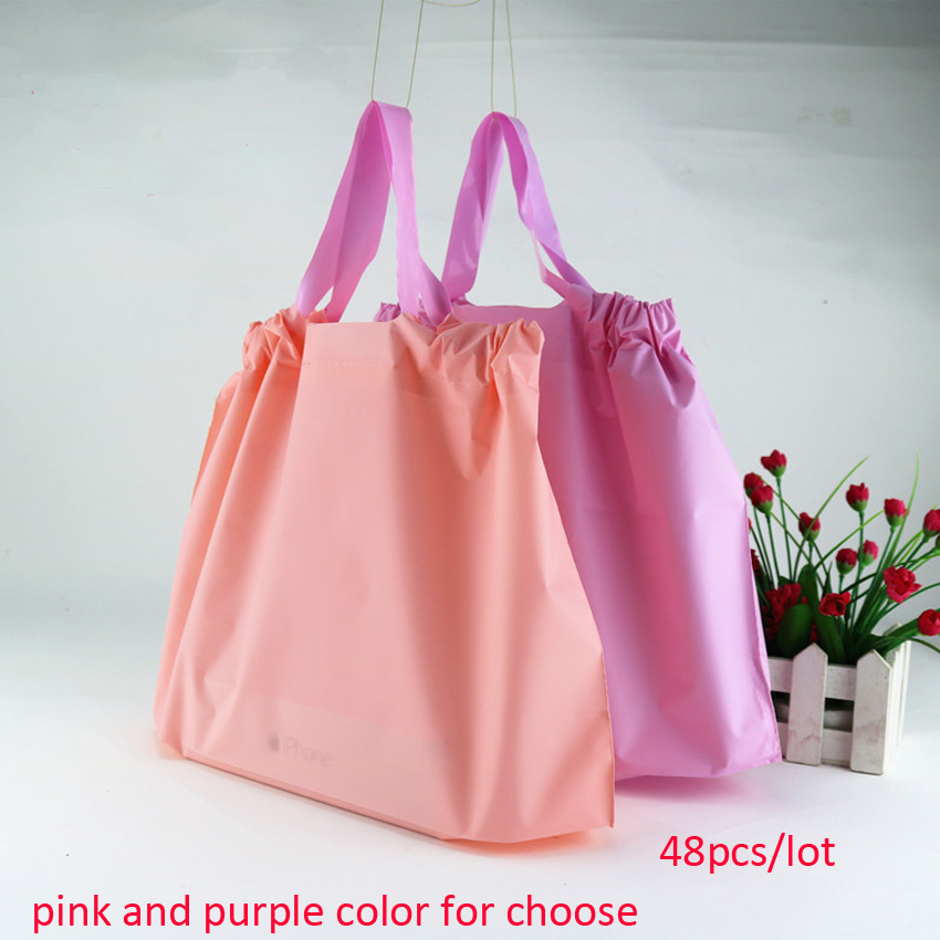 48pcs/lot 35x24x11cm Plastic Gift Bags For Childens Ware, Pink N Purple Colors, Take Away, Drawstring Blank Bag Without Logo;