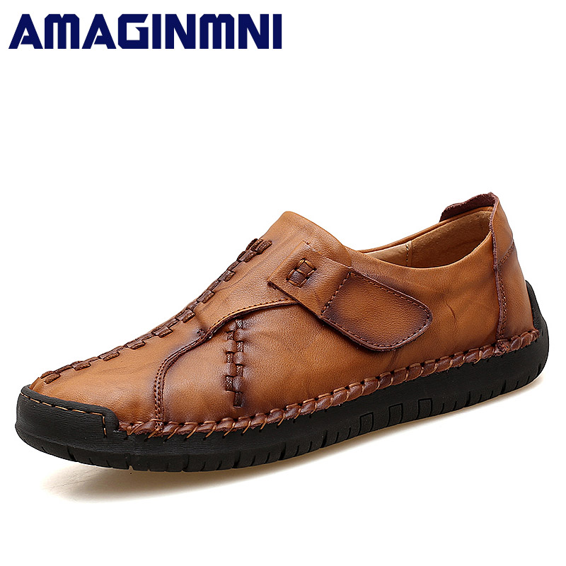 AMAGINMNI Brand Genuine Leather shoes Classic fashion mens casual shoes Spring Breathable men Loafers Autumn men's flats shoes