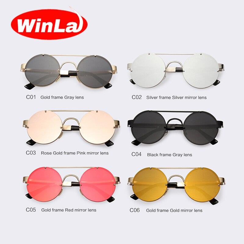 Winla Vintage Steampunk lunettes de Soleil Hommes Lunettes lunettes de  Soleil Rondes Femmes Marque Design En Métal Cadre Double-Poutres Lunettes  Miroir ... e5b2f5a8747f