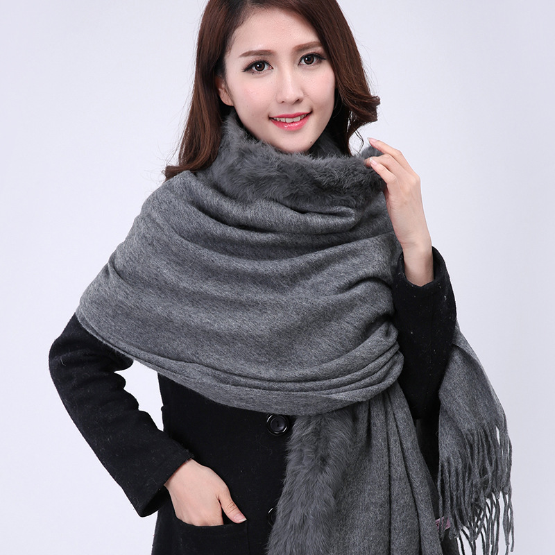 Fashion Gray Chinese Women's Wool Cashmere Shawl Scarf Rabbit Fur Scarves Pashmina Tippet Winter Thick Warm Cape Bufanda