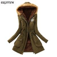 2015 New Winter Womens Parka Casual Outwear Military Hooded Coat Winter Jacket Women Fur Coats Woman