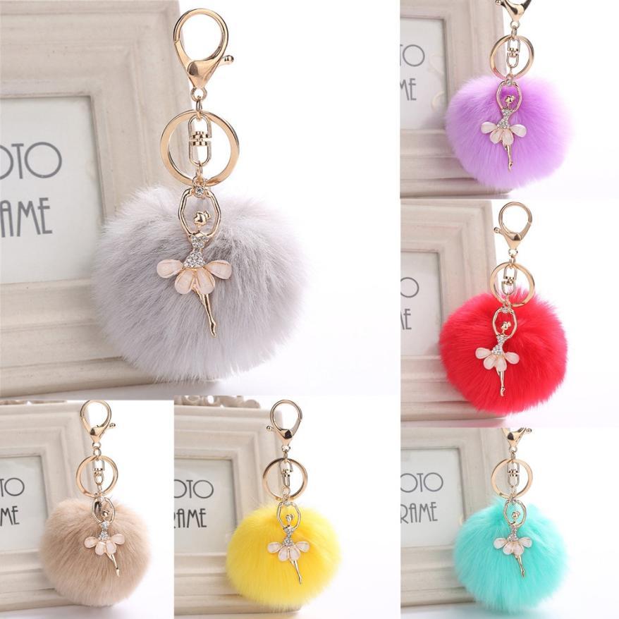 GEMIXI 8CM Cute Dancing Angel Keychain Pendant Women Key Ring Holder Pompoms Key Chains 4.20 keychain holder key ring with vine bottle pendant 3pcs
