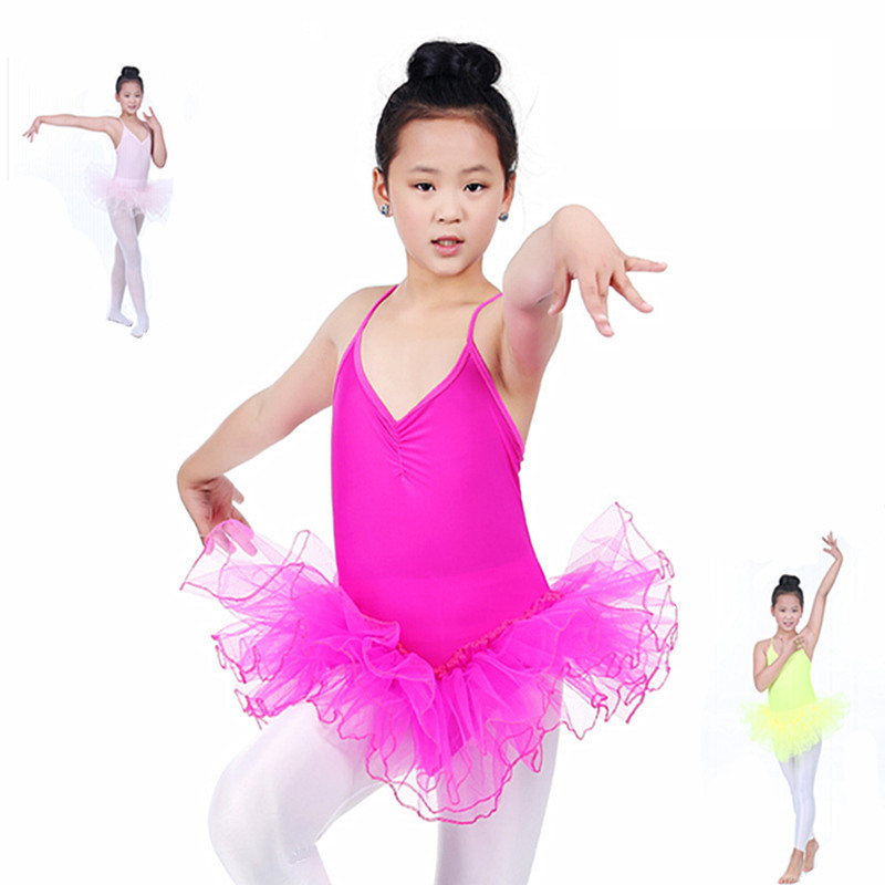 High Quailty New Children Girls Kids Baby Candy Color Short Sleeve Layered Tutu Ballet Dancewear Dance Dress Costumes