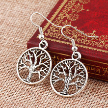 Vintage Punk Style Earring Eagle wings-Round Hollow Peace Life Tree Dangle Earrings Charm Silver-plated Jewelry For women set(China)