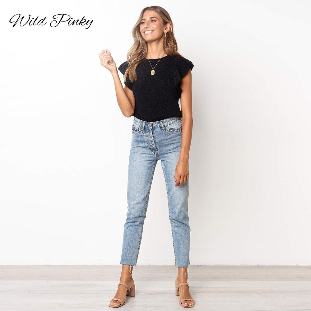 WildPinky Elegant Streetwear Black Summer Women Tops T shirts Feminina Sexy Top O neck Slim Knitting Ruffles Top Female in T Shirts from Women 39 s Clothing